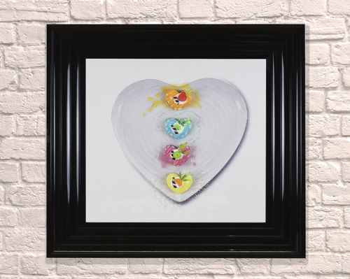 Large Heart Dessert Black 65cm Frame 3D Artwork